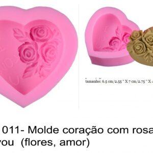 J 1011- Molde coração com rosas, i love you  (flores, amor)