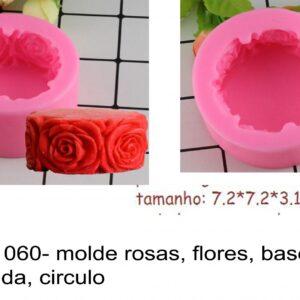 J 1060- molde rosas, flores, base redonda, circulo