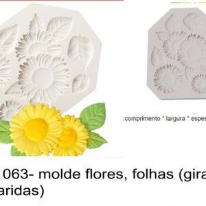 J 1063- molde flores, folhas (girassol, margaridas malmequer)
