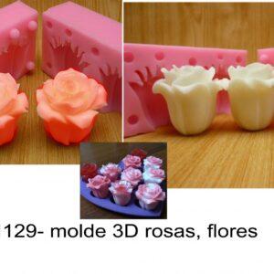 J 1129- molde 3D rosas, flores