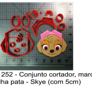 J 1252 - Conjunto cortador, marcador Patrulha pata - Skye (com 5cm)