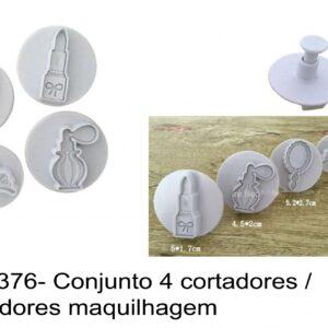 J 1376- Conjunto 4 cortadores / marcadores maquilhagem baton espelho coroa perfume