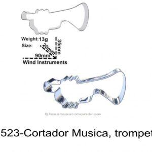 J 1523-Cortador Musica, trompete instrumentos musicais