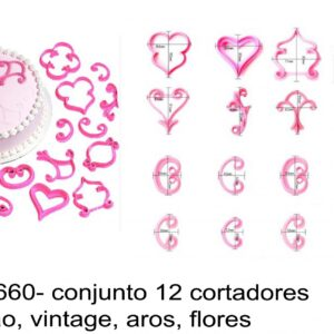 J 1660- conjunto 12 cortadores coração, vintage, aros, flores
