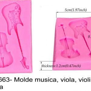 J 1663- Molde musica, viola, violino, guitarra  instrumentos musicais