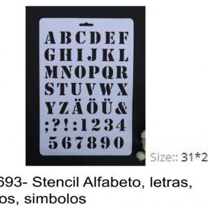 J 1693- Stencil Alfabeto, letras, numeros, simbolos algarismos