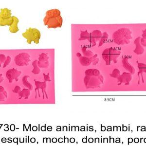 J 1730- Molde animais, bambi, raposa, ouriço esquilo, mocho, doninha, porco