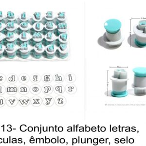 J 1813- Conjunto alfabeto letras, êmbolo, plunger, selos minusculas cortadores