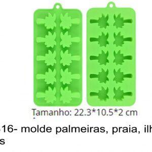 J 1816- molde palmeiras, praia, ilha, arvores