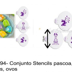 J 1894- Conjunto Stencils pascoa, coelhos, ovos