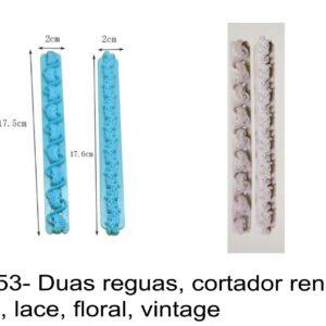 J 2153- Duas reguas, cortador rendas inglesa, lace, floral, vintage