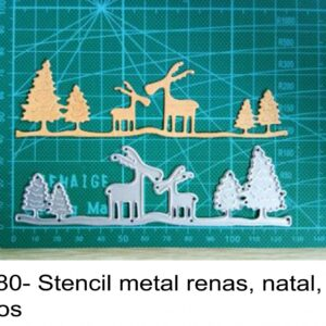 J 2280- Stencil metal renas, natal, pinheiros