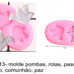 J 2313- molde pombas, rolas, passaros, batismo, comunhão, paz, baptismo