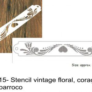 J 2415- Stencil vintage floral, coração, flores, barroco