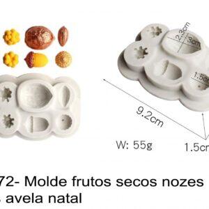 J 2672- Molde frutos secos nozes bolotas avela natal