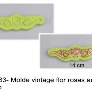 J 2783- Molde vintage flor rosas aros barroco