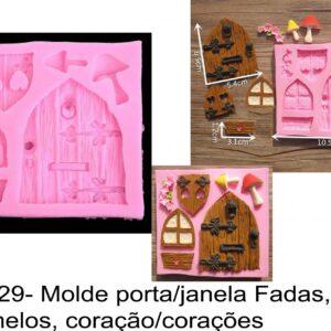 J 629- Molde porta/janela Fadas, cogumelos, coração/corações