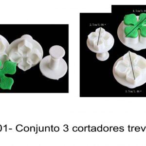J 701- Conjunto 3 cortadores trevo / flores/folhas