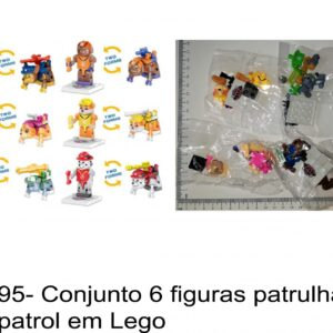 J 795- Conjunto 6 figuras patrulha pata / paw patrol em Lego