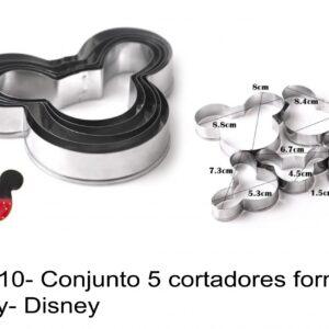 J 910- Conjunto 5 cortadores forma Mickey- Disney
