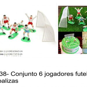 J 938- Conjunto 6 jogadores figuras futebol e duas balizas